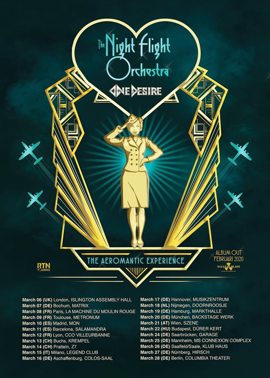 Night Flight Orchestra and One Desire tour date poster