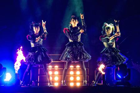 Babymetal on stage at Wembley Arena