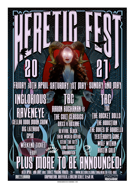 Heretic Fest poster for 2021