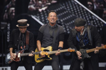 U.S. singer Bruce Springsteen, centre, performs at Croke Park stadium, Dublin, Ireland, Friday, May, 27, 2016. (Photo by Peter Morrison/Invision/AP)