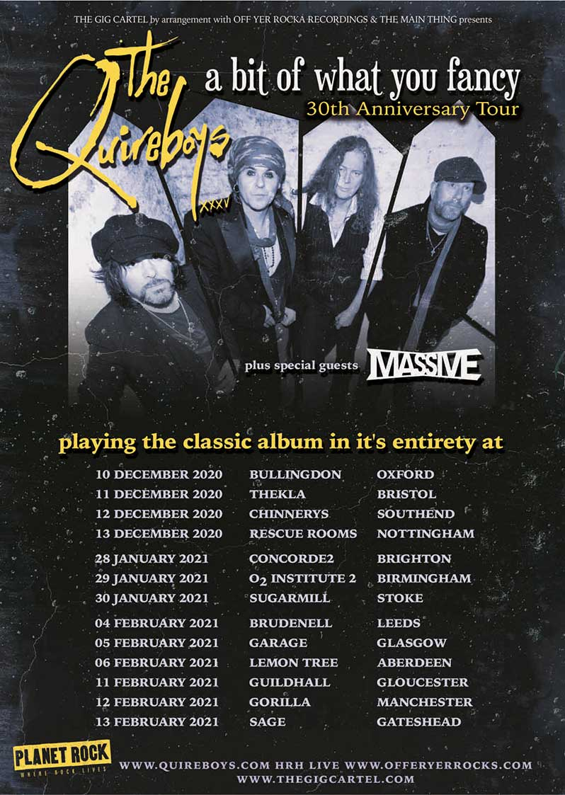 Tour poster for The Quireboys tour which starts in December 2020
