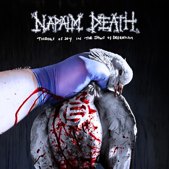 Photo of the new Napalm Death album cover 'Throes of Joy in the Jaws of Defeatism'