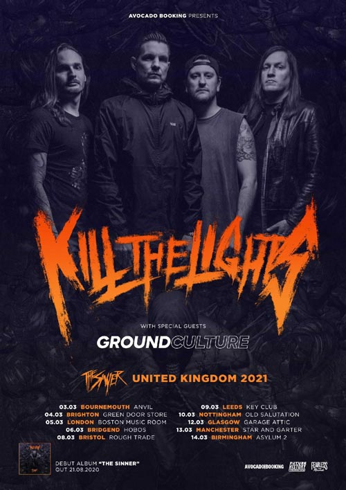 Kill The Lights 2021 UK Tour Poster