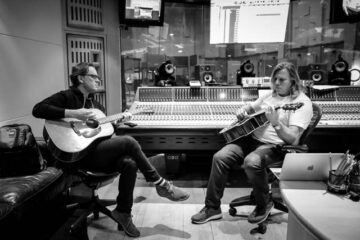 Photo of Joe Bonamassa and producer Kevin Shirley at AbbeyRoad Studios photo by Christie Goodwin