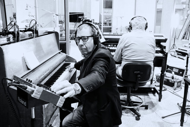 Jools Holland and Joe Bonamasa at Abbey Rd Studios recording_photo by Christie Goodwin