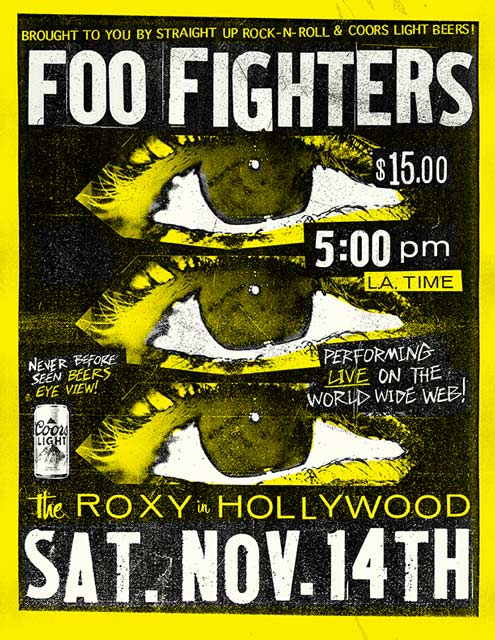 Poster showing Foo Fighters live stream event details