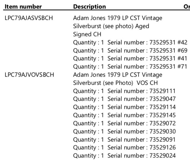 Adam Jones 1979 Les Paul Custom Serial Number List