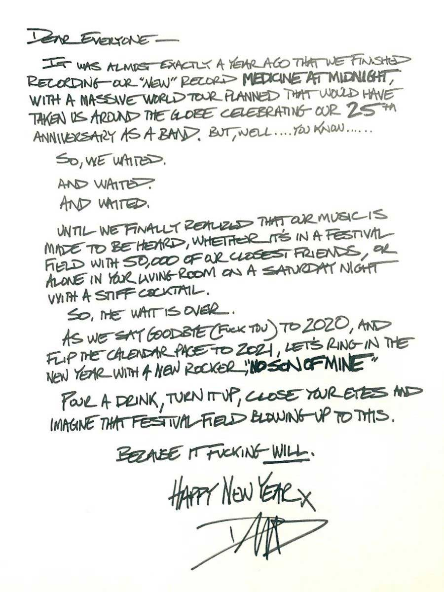 A note from Dave Grohl