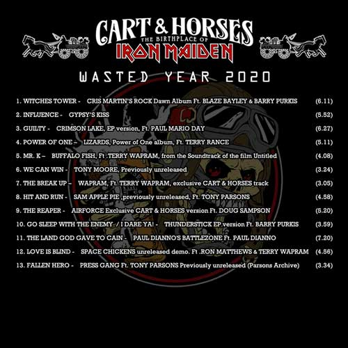 Tracklist of Wasted Years 2020, the Cart & Horses CD