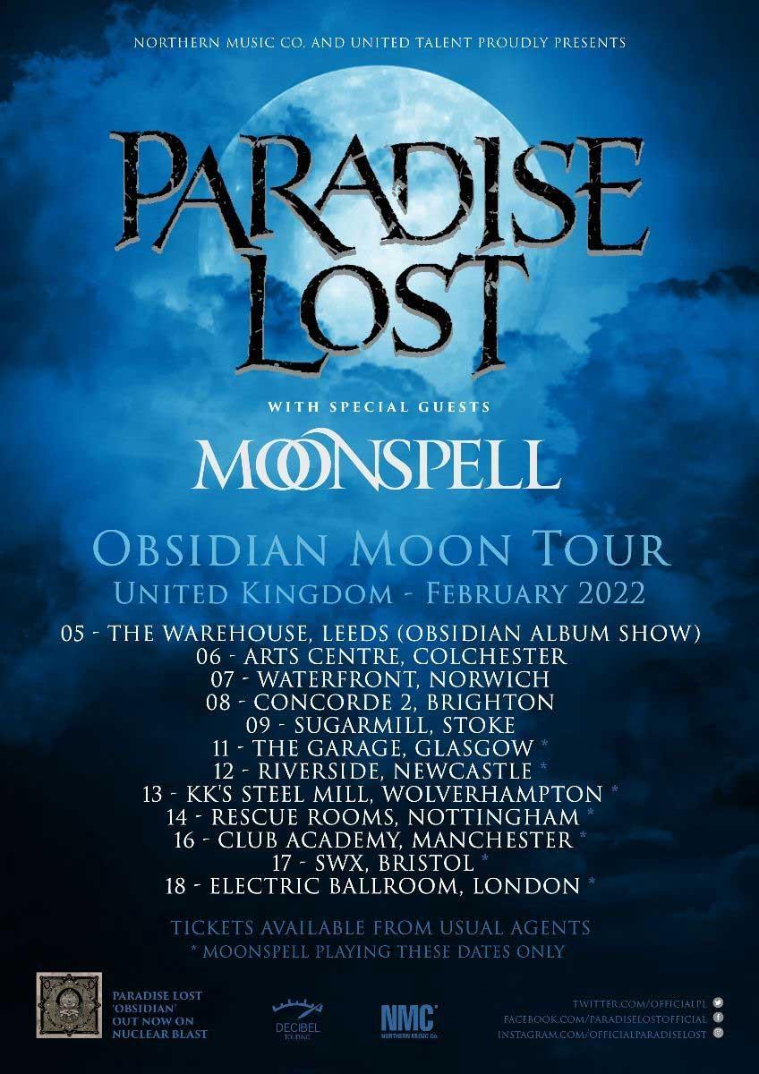 Paradise Lost 2022 Tour Poster