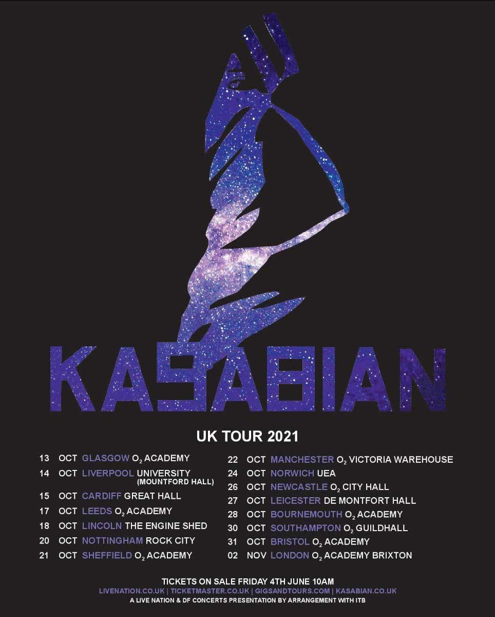 Kasabian UK 2021 tour poster