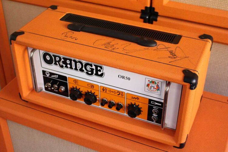 Photo of a classic OR50 amp signed by Biffy Clyro