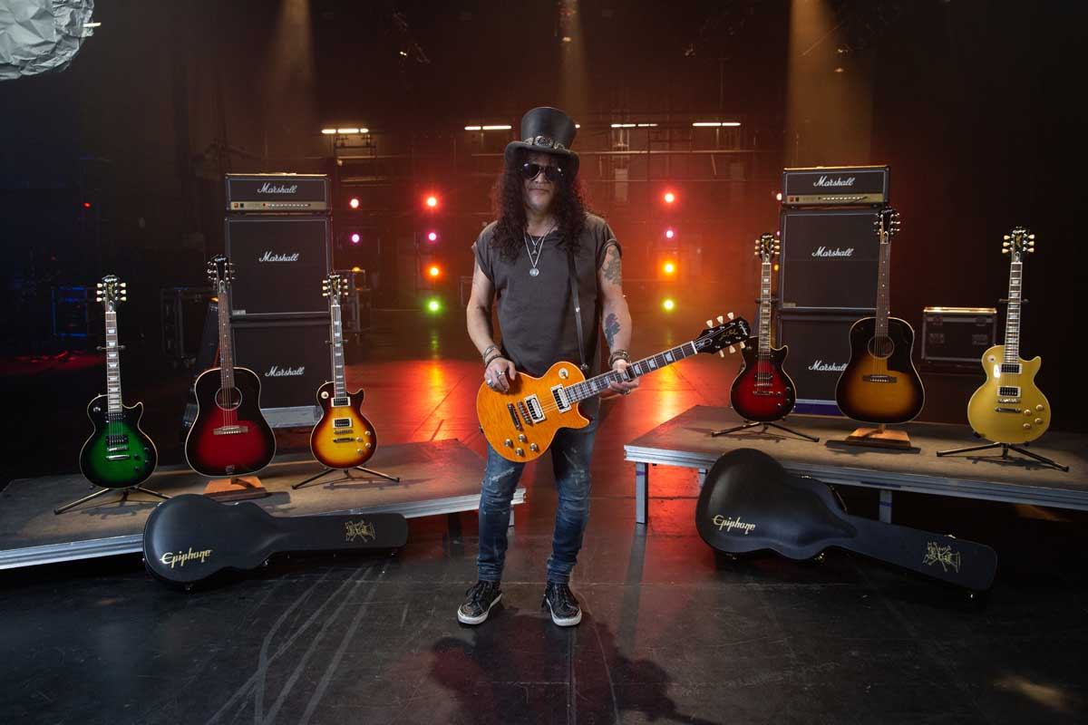 Photo of Slash and his Epiphone Guitar Collection