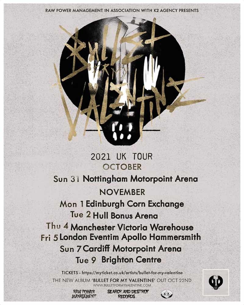 Bullet For My Valentine UK Tour 2021 Poster