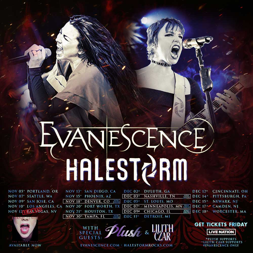 Halestorm and Evanescence tour poster